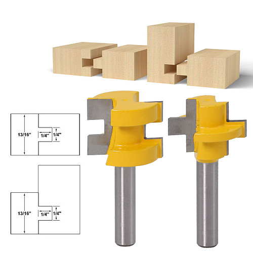 2pcs 8mm Shank Carving Knife Square Tooth T-Slot Tenon Milling Cutter Router Bits for Wood Tool Woodworking