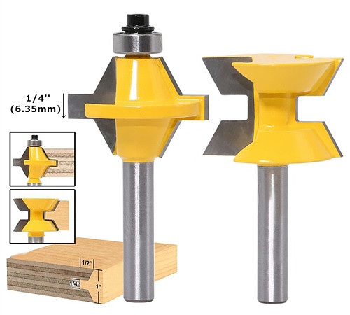 120 Degree Lock Miter Bit Router Bit 8mm/12.7mm Shank Carbide Milling Cutter For Wood Cutter Woodworking Carving Engraving Tools