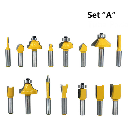 15pcs 8mm Router Bit Set Trimming Straight Milling Cutter for Wood Bits Tungsten Carbide Cutting Woodworking MC02006
