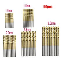 50Pcs Titanium Coated HSS High Speed Steel Drill Bits Set Power Tools 1mm 1.5mm 2mm 2.5mm 3mm