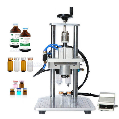 Pneumatic Oral Liquid Penicillin Antibiotic Injectable Bottle Capper Aluminum Plastic Glass Vial Crimper Capping Machine