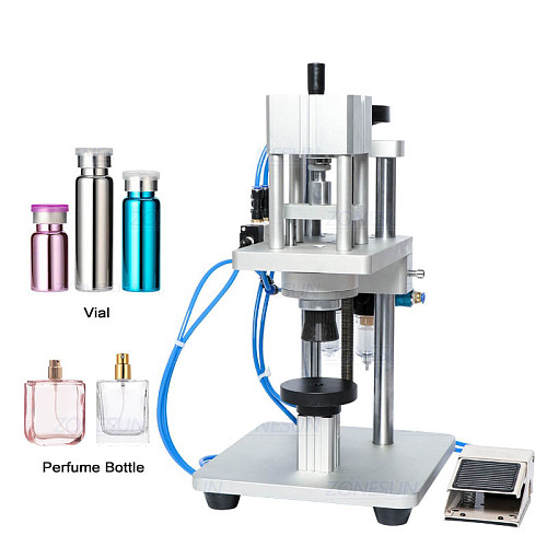 Pneumatic Perfume Oral Liquid Penicillin Injectable Bottle Capper Aluminum Plastic Glass Vial Crimper Capping Machine