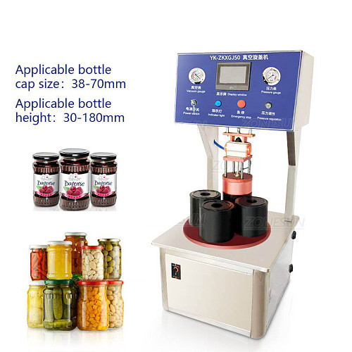 Semi-automatic Vacuum Capping Machine Chili Sauce Canned Tinplate Glass Bottle Custom mold Vacuum sealing Machine