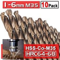 10 Pcs High Speed Steel HSS M35 Cobalt Twist Drill Bits HSS-Co Bit 5%Co For Metal Drilling 1 1.5 2.5 3 4 5 6mm Drill Bit D30