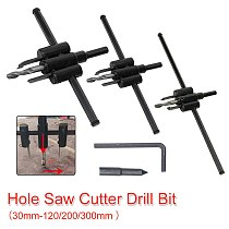 Metal Wood Circle Hole Saw Drill Bit Cutter Kit DIY Tool Adjustable 30mm-300mm Black Alloy Blade Hole Opener Tool