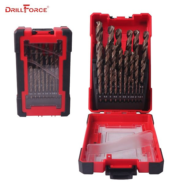 DRILLFORCE 25PCS HSS-CO Cobalt Drill Bit for Hardened Metal & Stainless Steel Drilling Bits Set 1.0~13mm Power Tools Accessories