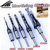 HSS Square Hole Saw Mortise Chisel Wood Drill Bit with Twist Drill
