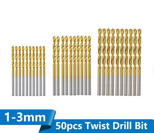 XCAN 50pcs HSS Twist Drill Bit Set Titanium Coated Gun Drill Bit for Wood Metal Drilling Mini Drill Bit 1.0/1.5/2.0/2.5/3.0mm