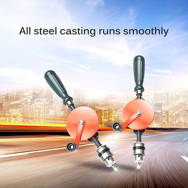1/4inch Powerful Manual Drill Double Gears Hand Shake Drilling Tool For Diy Woodworking Drill Teaching Humanized Handle