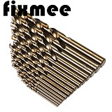 15pcs/set HSS-CO 1.5-10mm High Speed Steel M35 40-133mm Length Wood Metal Drilling High Speed Steel M35 Cobalt Twist Drill Bit