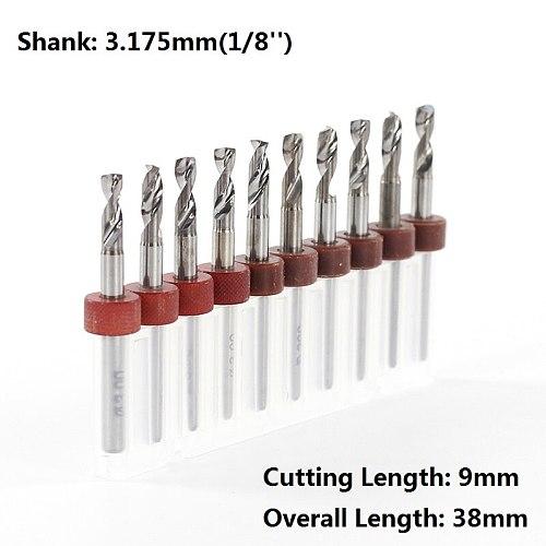 XCAN 10pcs 3.0mm  PCB Drill Bits Set 3.175mm Shank Carbide Mini Gun Drill Bit