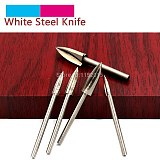 ZtDpLsd 1PCS 2.35MM 3.0MM White Steel Wood Carving Sharp Knife Woodworking Electric Grinding Head Milling Cutter Sword Blade