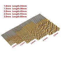 10-50Pcs 1/1.5/2/2.5/3mm Titanium Coated Drill Bits HSS High Speed Steel Drill Bits