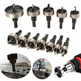 12pcs! 15-50mm HSS Drill Bit Set Holesaw Hole Saw Cutter Drilling Kit Hand Tool for Wood Stainless Steel Metal Alloy Cutting