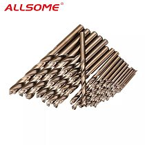 ALLSOME 1-10mm/1-13mm HSS M35 Cobalt Twist Drill Bit Set for Metal Wood Drilling HT2194-2195
