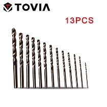 TOVIA 13pcs HSS Cobalt Coated Twist Drill bit M35 Metal Drill Bit Drill Wood Stainless Steel Hole Cutter Round Shank Drill Bit