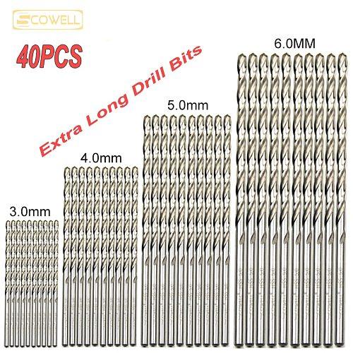 30% off 40pcs HSS Extra Long Drill Bits for wood metal 3mm,4mm5mm,6mm Ultra Length jobber drill bits for metal Wood drill Bits