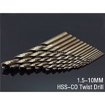 15pcs Set 1.5MM-10MM Cobalt High Speed Steel Twist Drill Hole M35 Stainless Steel Tool Set The Whole Ground Metal Reamer Tools