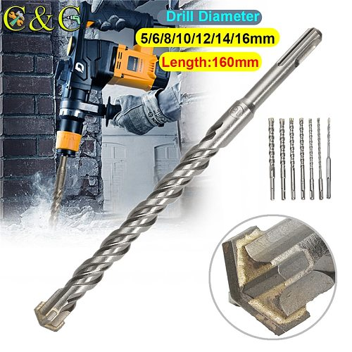 160mm Hammer Drill Bits 5/6/8/10/12/14/16mm Cross Type Tungsten Steel Alloy Double SDS Plus for Masonry Concrete Rock Stone