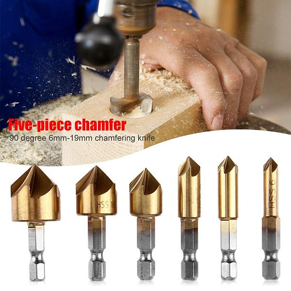 6pcs Hex Shank Drill Bits 90 Degree HSS Countersink Chamfering Wood Steel Chamfer Cutter Power Tool Accessories 6-19mm