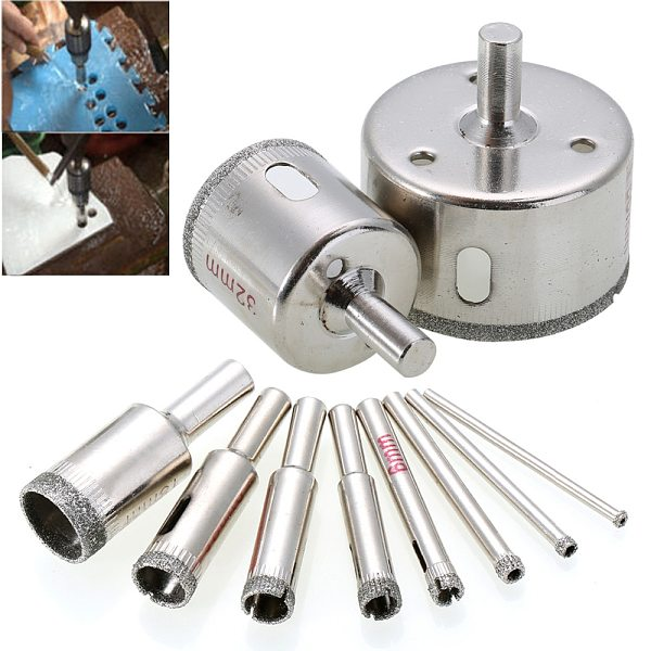 10pcs Diamond Hole Saw Marble Drill Bit Set 3-50mm For Glass Ceramic Tile Drilling Tools