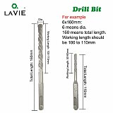 LAVIE 10pc/Lot 4mm 5mm 6mm Electric Hammer SDS Plus Drill Bits Set 160mm Concrete Wall Brick Block Masonry Hole Saw Drilling 013