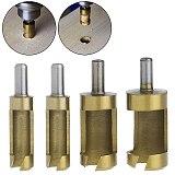 Hot 4pcs Wood Plug Cutter Cutting Tool Woodwork Plug Cutting Drill Bit Set Claw Cork Drill 1/4 Round Shank Drill Hole Saw Tool
