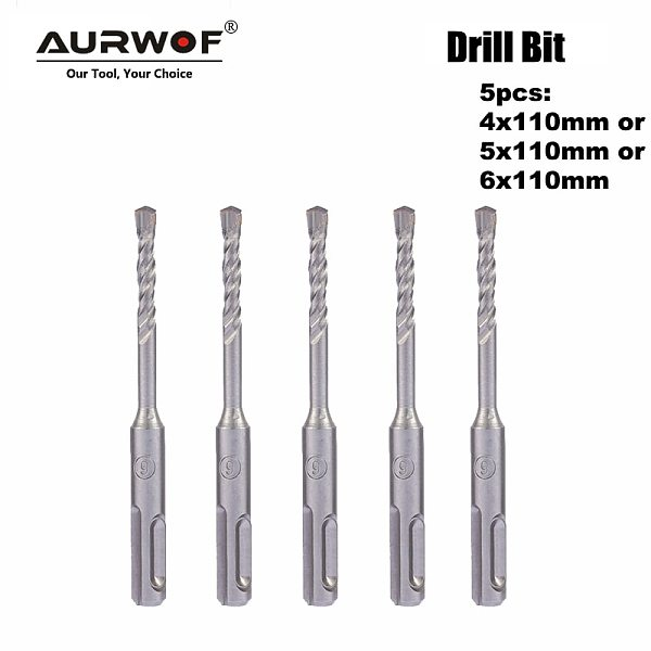 LAVIE 5pcs 4mm 5mm 6mm Electric Hammer SDS Plus Drill Bits Set 110mm Concrete Wall Brick Block Masonry Hole Saw Drilling 016