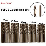50PCS Drillforce Tools M35 Cobalt Drill Bit Set,HSS-CO Drill Set 1-3MM,for Drilling on Hardened Steel, Cast Iron&Stainless Steel