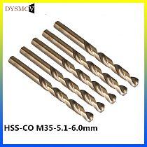 2 pcs Twist Drill Bits 5.1, 5.2, 5.3, 5.4, 5.5, 5.6, 5.7, 5.8, 5.9 ,6.0mm HSS-CO M35 steel straight stem for stainless steel