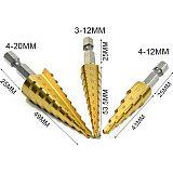Hss Step Cone Taper Drill Bit Set Hole Cutter Metric 1/4  Titanium Coated Metal Hex Bits Drill Core 3-12/13mm 4-12/20/22/32mm