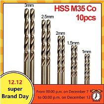 TTAKA7 10pcs/Set Twist Drill Bit Set HSS M35 Co Drill Bit 1mm 1.5mm 2mm 2.5mm 3mm used for Steel Stainless Steel