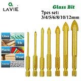 7pcs 1/4  Hex Shank Glass Bits Titanium Coated Glass Drill Set 3 4 5 6 8 10 12mm Tile Concrete Flat Tip Hole Bit Drilling 02010