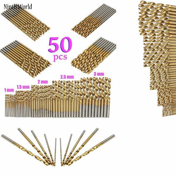 50Pcs/Set Twist Drill Bit Set Saw Set HSS High Steel Titanium Coated Drill Woodworking Wood Tool 1/1.5/2/2.5/3mm For Metal