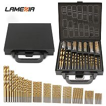 LAMEZIA 99pcs High Quality 1.5-10mm Titanium Coated HSS Twist Drill Bits Set And Case Plastic Wood Metal Drilling Tool Kit Box