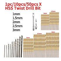 Twist Drill Bit Set Tool HSS High Speed Steel for Wood / Metal/ Aluminum 1mm 1.5mm 2mm 2.5mm 3mm 1pc/10pcs/50pcs