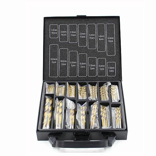 99pcs 1.5mm - 10mm Titanium Coated Drill Bit Set High Speed Steel Manual Twist Drill Bits HT2386