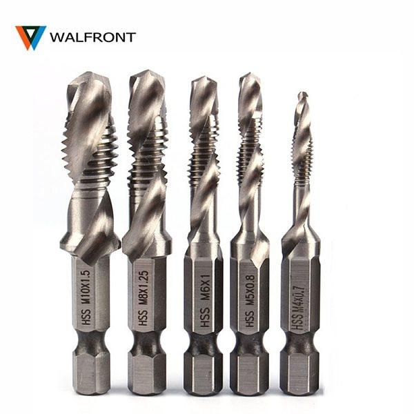 WALFRONT 1/4  Hex Shank Drill Bit HSS Metric Screw Thread Tap Taper & Drill Bits Metric Composite Tap Drills M3 M4 M5 M6 M8 M10