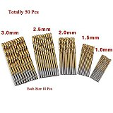 99pcs Titanium HSS Drill Bits Coated 1.5mm - 10mm Stainless Steel HSS High Speed Drill Bit Set For Electrical Drill Tools