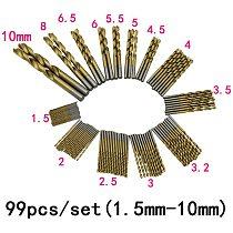 Quality Newest 99pcs/Set Titanium Coated HSS High Speed Steel Drill Bit Set Tool 1.5mm-10mm