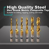 6pcs Hex Shank Metric Titanium Plated Composite Tap Set High Speed Steel Multi-function Composite Tap Hex Shank Drill Bits Set