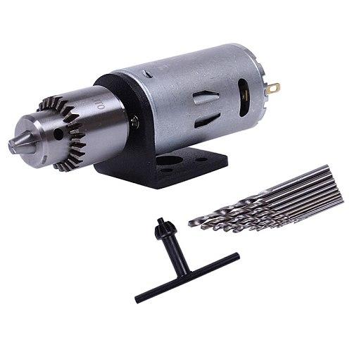 Mini Dc 12V Electric Motor Wood Pcb Hand Drill Press Drilling Set With 10Pc 0.5-3Mm Twist Bits And Jt0 Chucks Bracket Stand