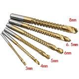 Saw Set Drill Tool Steel Titanium Wood 3/4/5/6/6.5/8mm 6pcs Twist Bit High Speed Woodworking Grill Hss 91mm Axk-230
