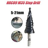 HRC89 Step Drill M35 4-22mm / 5-21mm TiAlN Coated 1/4 Inch Hex Shank HSS