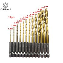 13pcs HSS Drill Bit For Metal Titanium Coated Twist Drill Set 1.5 ~ 6.5mm with 1/4  Hex Shank Hex Screw Woodworking  DT6