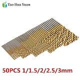 50Pcs Titanium Coated HSS High Speed Steel Drill Bit Set Tool 1mm 1.5mm 2mm 2.5mm 3mm Titanium Drill Power Tools Accessories AA