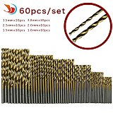 60pcs 1/1.5/2/2.5/3/3.5mm Titanium Coated HSS High Speed Steel Drill Bit Set Titanium For Wood Plastic Twist Drill Bit Set