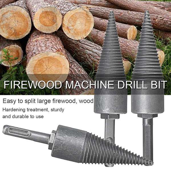 32x145mm Firewood Machine Drill Bit For Split Wood Reamer Punch Driver Square Shank/Round Shank/Hex Shank Split Drilling Tools