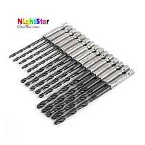 15PCs Nitridated HSS Twist Drill Bit Set Quick Change 1/4  HEX Shank 3mm 4mm 5mm