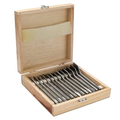 13Pcs Flat Spade Drill Bits Set Metal Bit Kit Hex Shank Woodworking Tool Accessories